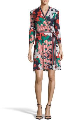 Label By 5twelve Printed Tie-Front Flounce Wrap Dress