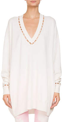 Givenchy Oversized V-Neck Wool-Cashmere Sweater w/ Pearlescent Trim