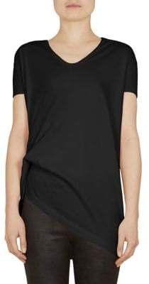 Rick Owens Hiked Gathered Cotton Tee