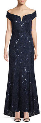 Vince Camuto Floral Sequin Off-the-Shoulder Gown