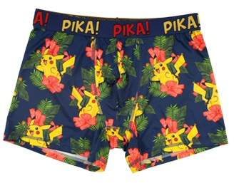 Pokemon Pikachu Men's All Over Print Pikachu and Hibiscus Poly Boxer Brief