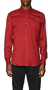 Prada Men's Stretch Cotton-Blend Poplin Slim Shirt - Red