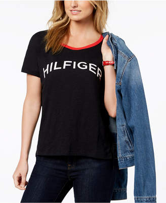 Tommy Hilfiger Cotton Metallic-Logo T-Shirt, Created for Macy's