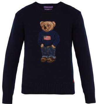 Ralph Lauren Purple Label Bear Intarsia Cashmere Sweater - Mens - Navy
