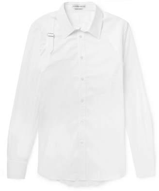 Alexander McQueen Slim-Fit Harness-Detailed Piqué-Panelled Stretch Cotton-Blend Poplin Shirt