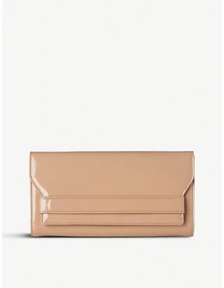 LK Bennett Rose Pink Stripe Ella Patent Leather Clutch Bag