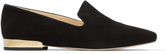 Jimmy Choo JAIDA FLAT Black Suede Square Toe Slippers