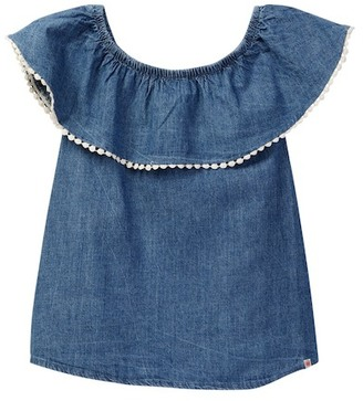 Lucky Brand Chambray Peasant Top with Pompom Trim (Big Girls) $36 thestylecure.com