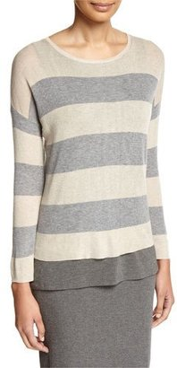Eileen Fisher Sleek Lyocell/Merino Long-Sleeve Striped Boxy Top, Petite $124 thestylecure.com