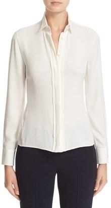 Women's Armani Collezioni Charmeuse Tuxedo Top $745 thestylecure.com