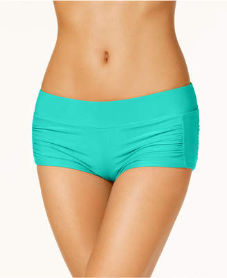 Hula Honey Ruched-Side Swim Shorts, Created for Macy's Women's Swimsuit