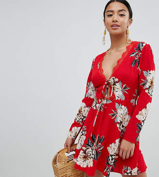 Missguided Petite Floral Tie Front Dress
