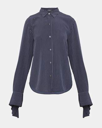 Theory Silk Pinstripe Tie-Cuff Shirt