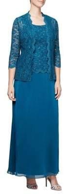 Alex Evenings Two-Piece Jacket & Dress Lace Set