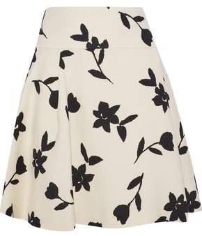 2bbda759c7 Carolina Herrera Pleated Intarsia Wool-twill Mini Skirt