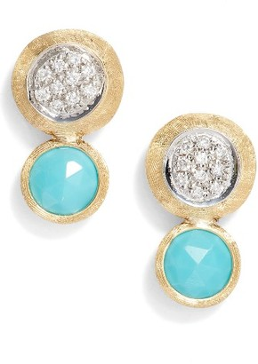 Women's Marco Bicego Jaipur Diamond & Turquoise Stud Earrings $1,350 thestylecure.com