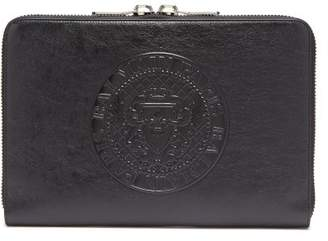 Balmain - Logo Embossed Leather Document Holder - Mens - Black