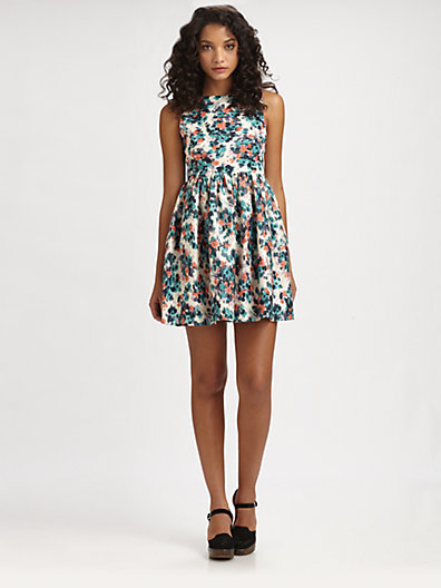 Wren Gathered Floral-Print Dress