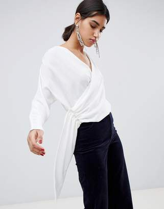 Asos Design DESIGN drape wrap long sleeve top with side button detail