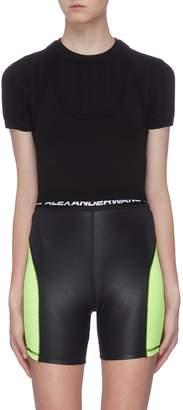 Alexander Wang Cutout back mesh stripe underlay knit top