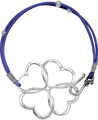 SILVER TREASURES Silver-Tone 4-Heart Clover Purple Leather Bracelet