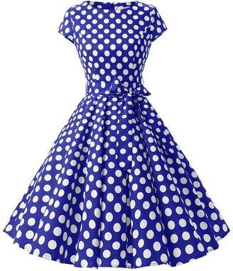 Dressystar Vintage 1950s Polka Dot and Solid Color Prom Dresses Cap-sleeve XL