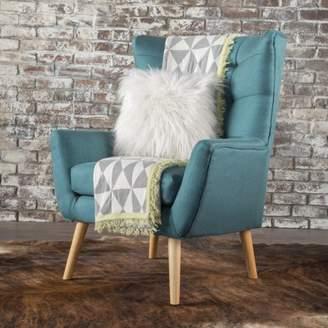 Noble House Fabric Mid Century Club Chair,Dark Teal