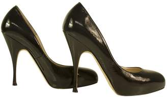 Brian Atwood Classic Black Patent Leather Round Toe Shoes Heels Pumps 37