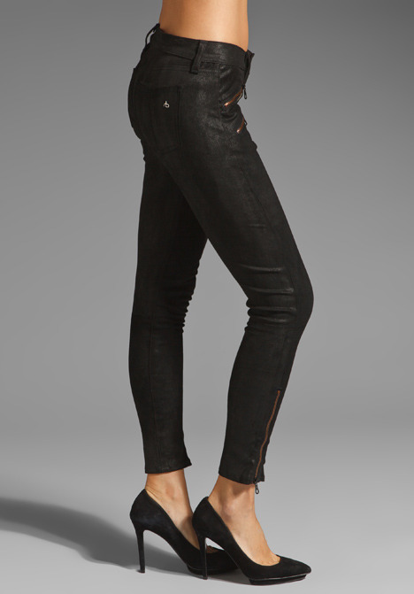 Rag and Bone Leather Legging with Exposed Zips in Black