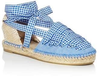 Castaner Women's Jean Gingham Ankle Tie Espadrille Flats