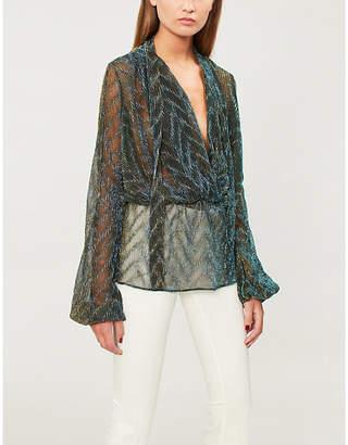 Forever Unique Metallic neck-tie woven blouse
