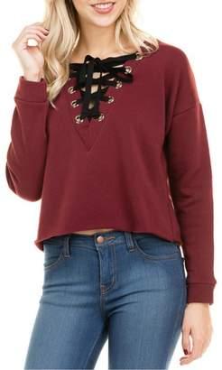 Minx Burgundy Laceup Sweater