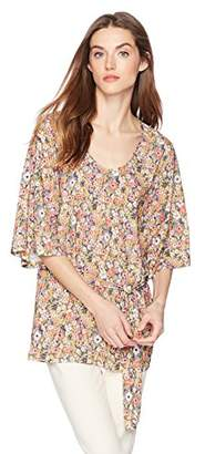 Daisy Drive Women's Floral Printed Half Sleeve Top With Belt