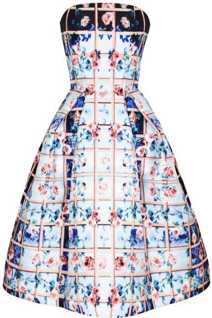 Mary Katrantzou Preorder Folli Rose Blue Nevis Dress
