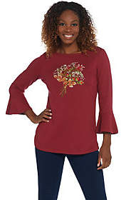 Factory Quacker Bell Sleeve Embellished FrontMotif Knit Top