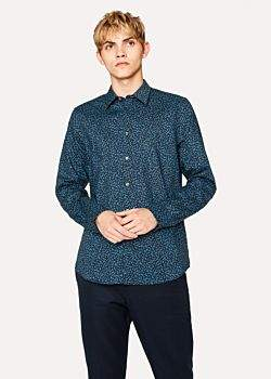 Paul Smith Men's Tailored-Fit Navy 'Dandelion' Print Cotton Shirt
