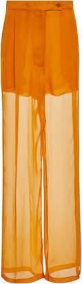 Salvatore Ferragamo Silk Chiffon Tailored Pleat Trousers