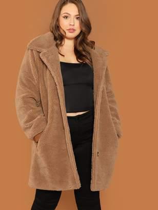 Shein Plus Button Up Teddy Coat
