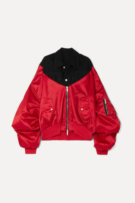 Unravel Project Oversized Paneled Denim And Satin Bomber Jacket - Red