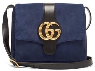 Gucci Arli Gg Suede And Leather Cross Body Bag - Womens - Navy