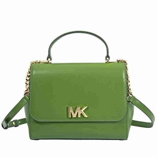 Michael Kors Mott Medium Leather Satchel- True Green - TRUE GREEN - STYLE