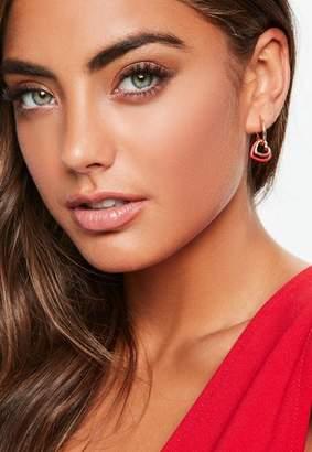 Missguided Gold Look Red Double Heart Hoop Earrings