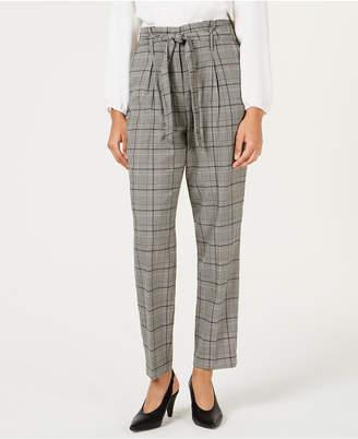 Bar III Self-Tie Plaid Pants