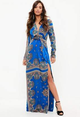 Missguided Blue Paisley Print Wrap Front Maxi Dress