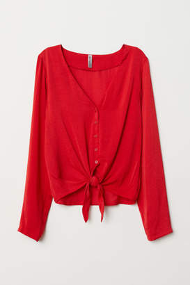 H&M Tie-front V-neck Blouse - Red