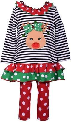 Bonnie Jean Toddler Girl Reindeer Ruffled Dress & Polka Dot Leggings Set