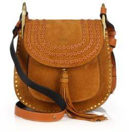Chloe Hudson Small Studded & Braided Suede Shoulder Bag