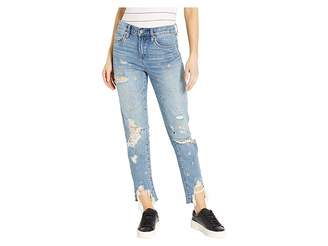 Blank NYC The Rivington High-Rise Tapered Distressed Jeans with Grommets in Bohemian Rap City