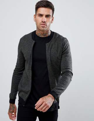 Asos DESIGN muscle fit knitted bomber jacket in khaki twist