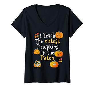 Pumpkin Patch Womens Teachers Halloween and Thanksgiving Top V-Neck T-Shirt